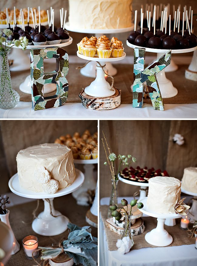 cotton wedding details cake table