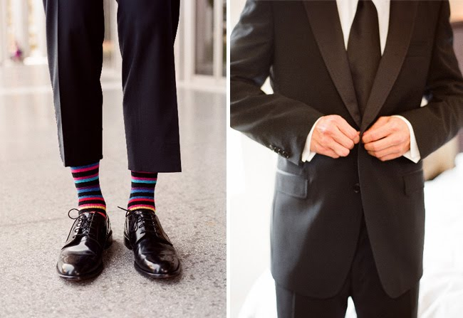 groom suit and striped socks