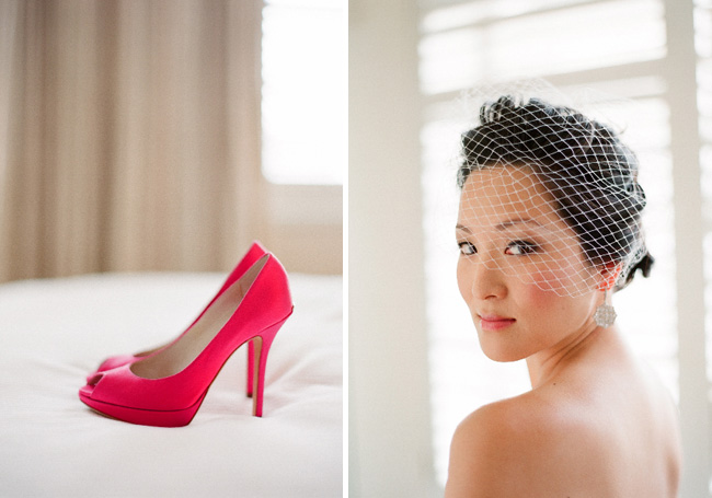 bride close up and pink shoe