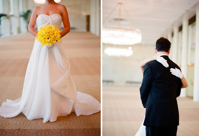bride with a yellow bouquet