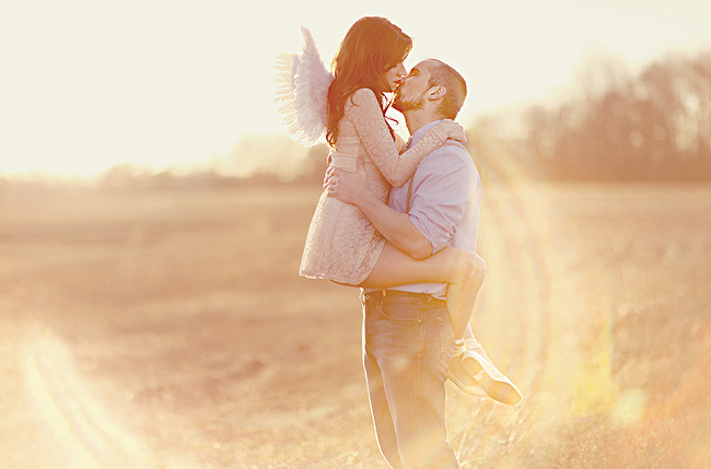 bride with angel wings