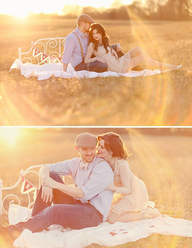 engagement photos with bed in grass