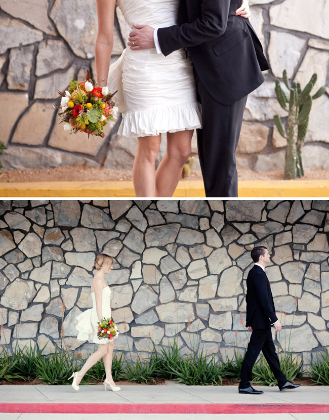 short wedding dress and bright bouquet