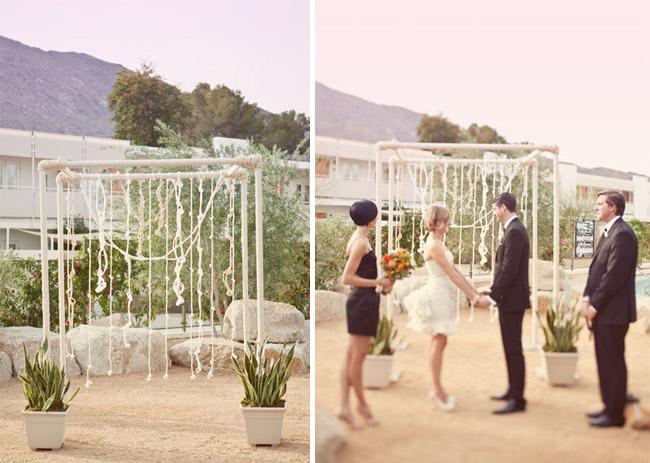 ace hotel outdoor wedding short wedding dress