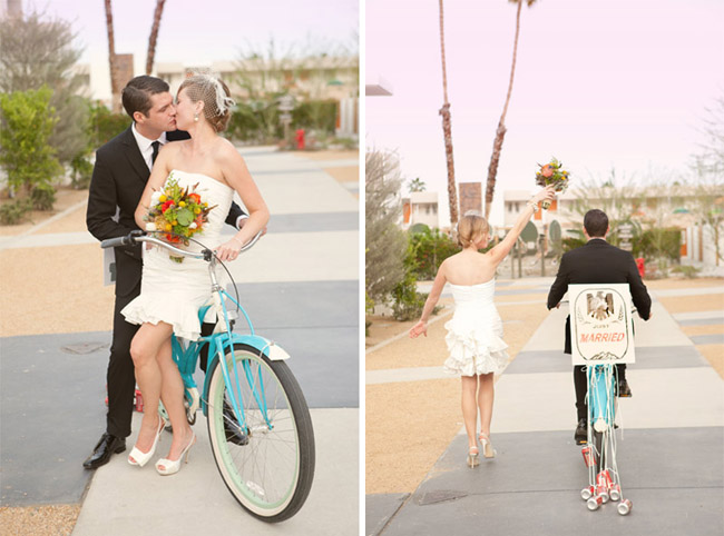 wedding blue bike just married sign