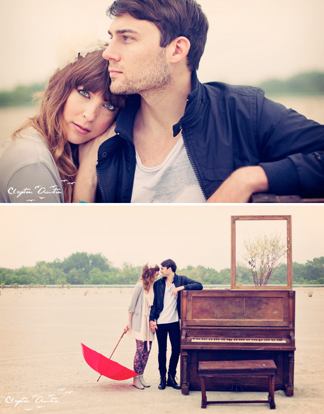 couple at the piano in love with umbrella