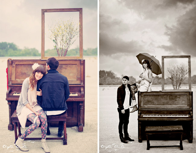 couple at the piano in love vintage