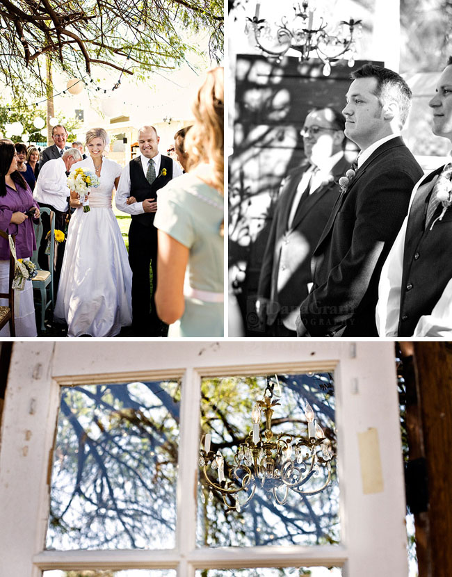 backyard wedding ceremony with old doors