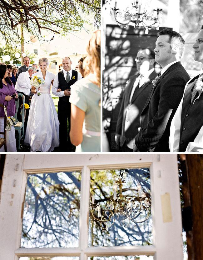 backyard wedding ceremony with old doors