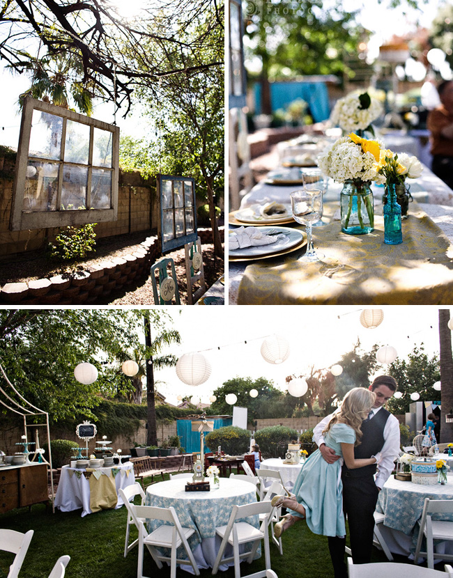 backyard wedding reception vintage