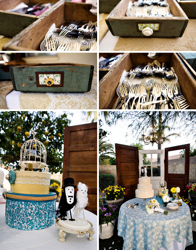wedding cake forks old doors decor