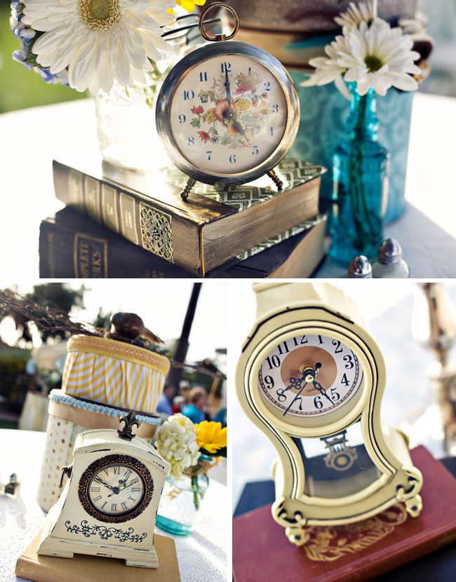 vintage clocks wedding table decor