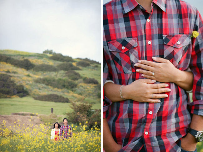 engagement session in field of yellow flowers