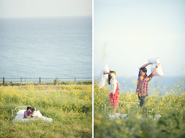 pillow fight in a field engagement