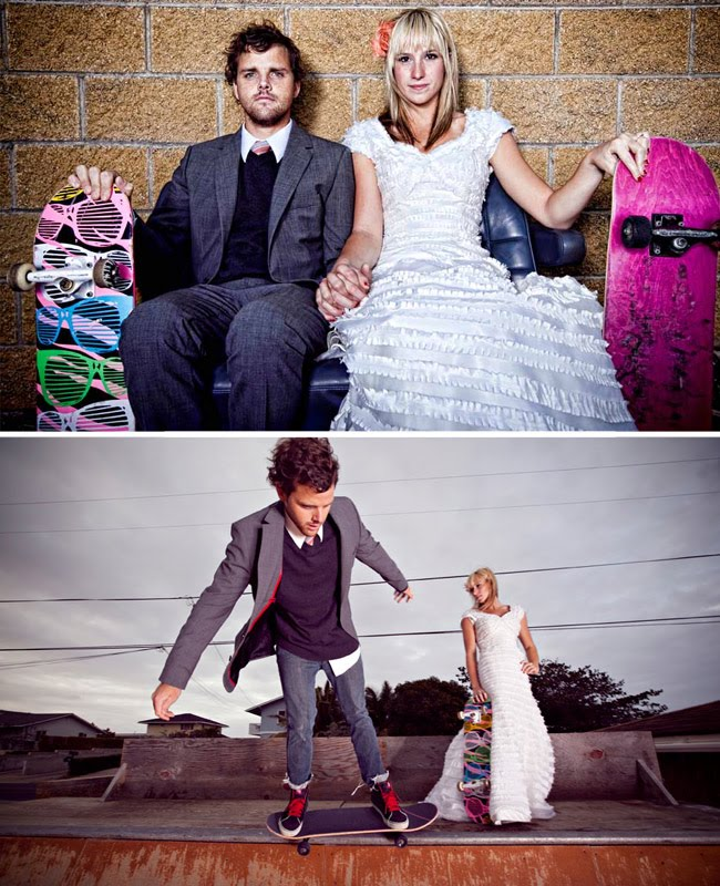 skateboard wedding session
