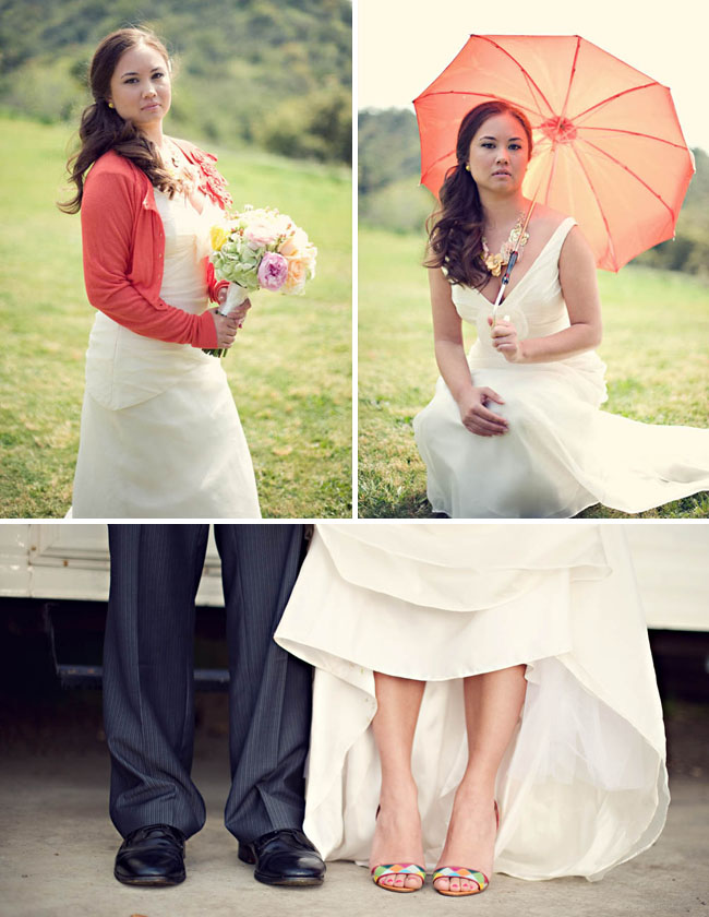 bride with shoes, sweater and umbrella