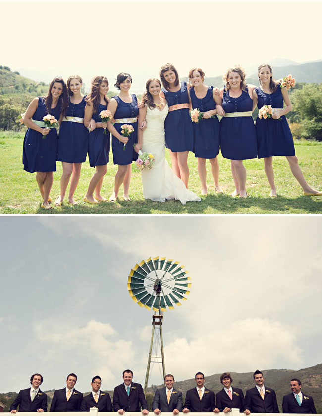 bridesmaids dresses with ribbon