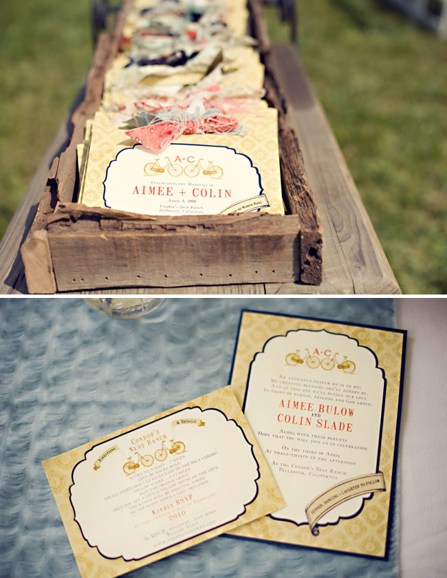 invitations in a wood box