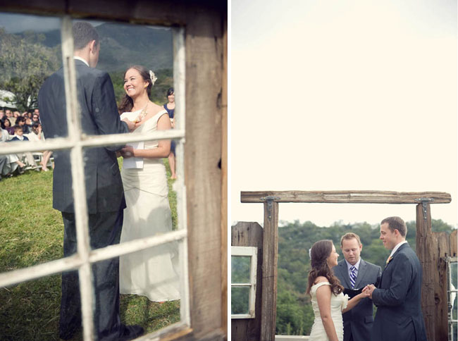 ceremony backdrop wooden windows