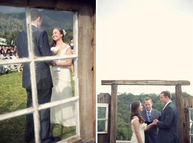 ceremony backdrop wooden windows
