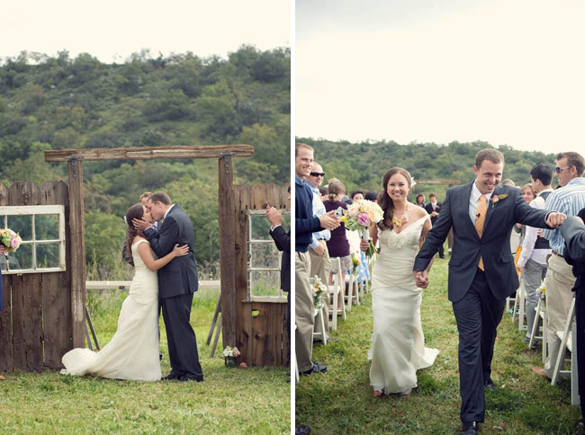 Wedding ceremony backdrop rustic
