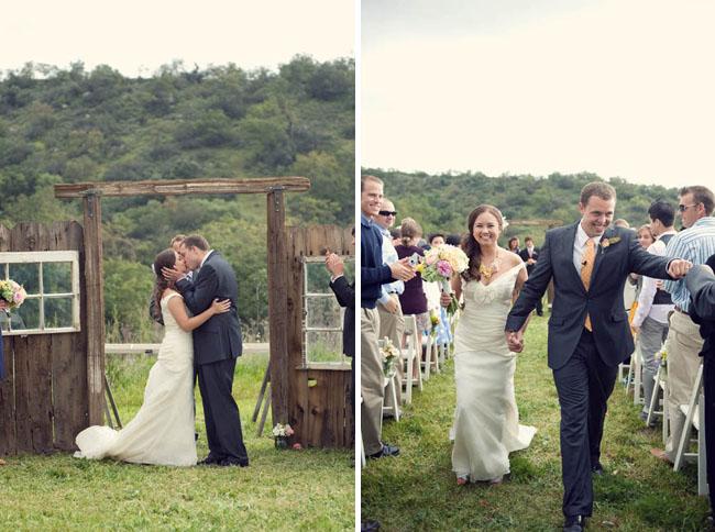 Wedding ceremony backdrop rustic