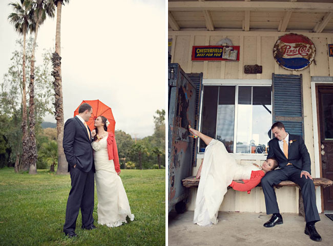 wedding umbrella and red sweater