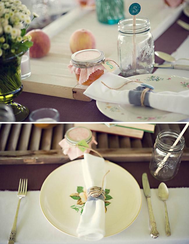 Wedding Reception plates and napkins buttons mason jars