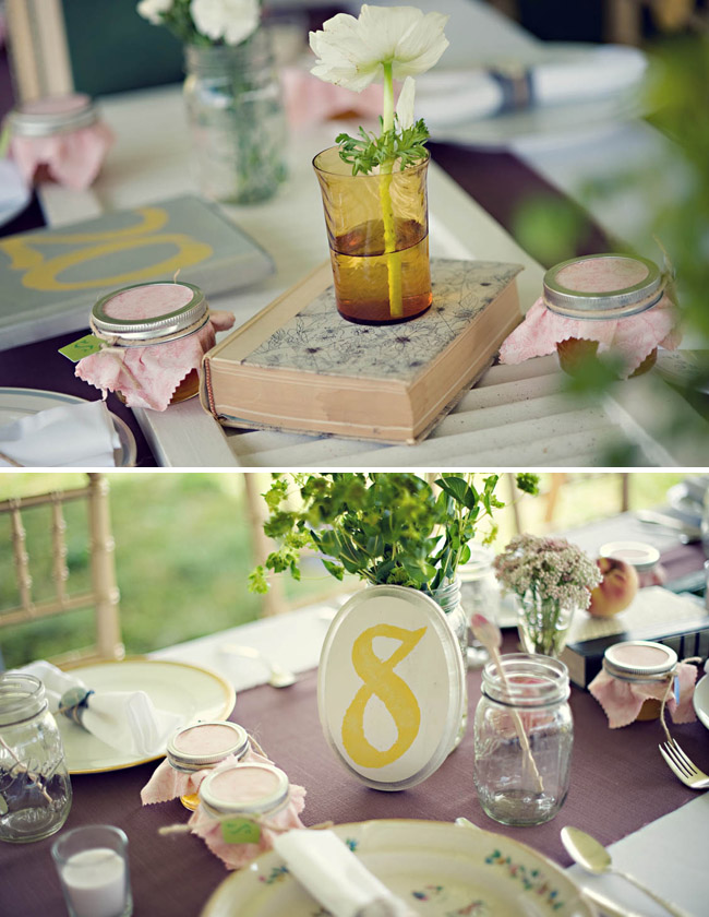 wedding rustic reception books table numbers
