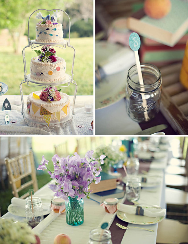 mason jars cake with bunting anthropologie