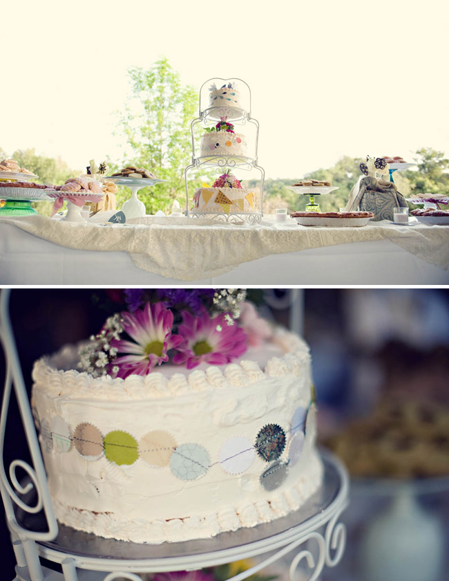 cakes with bunting and dessert table