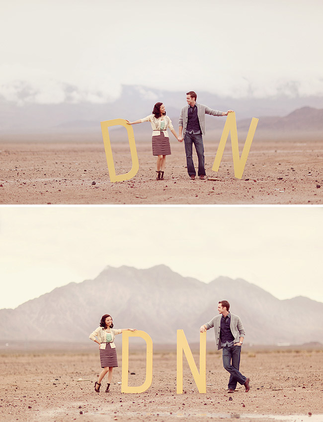 Desert engagement with big letters
