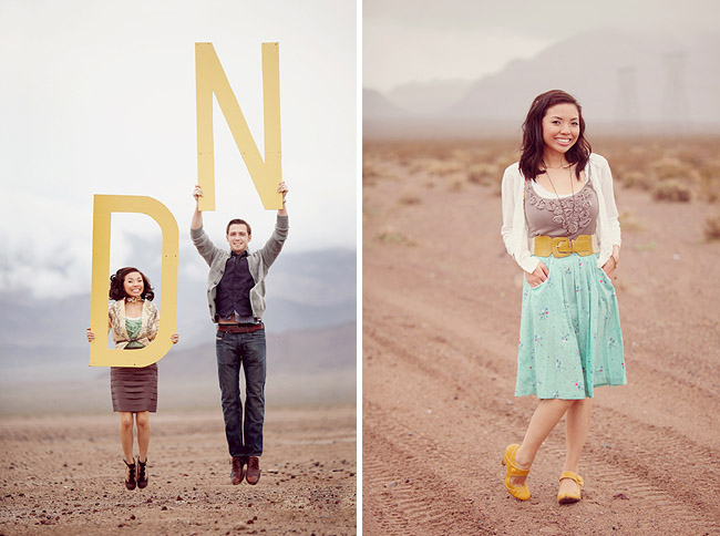 desert engagement photos with big letters