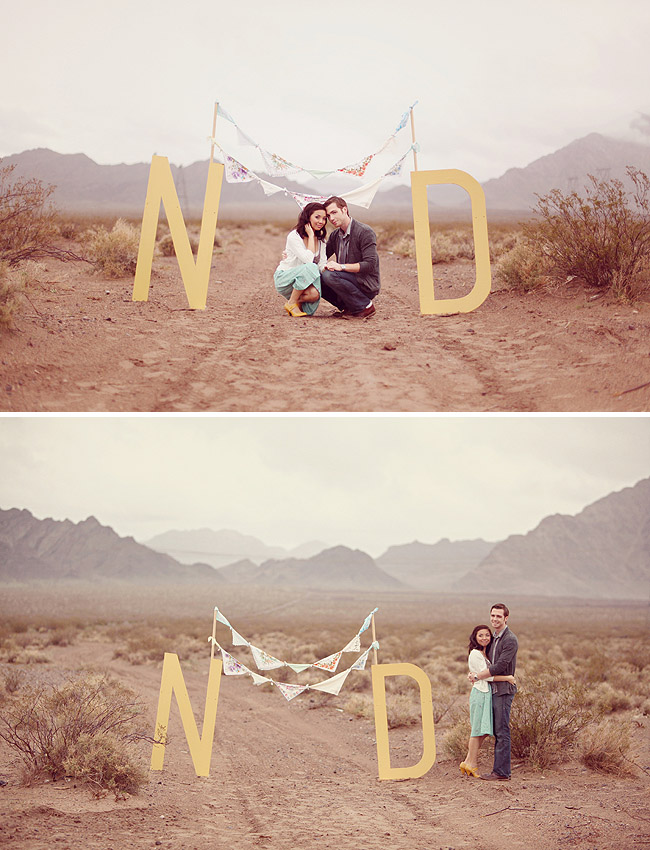 vegas engagement photos with big letters