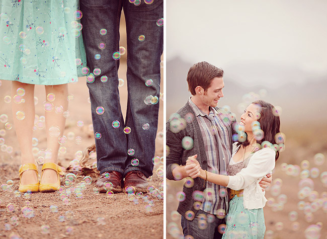 engagement photos with bubbles and yellow shoes
