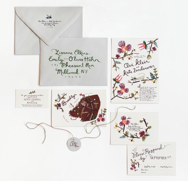wedding invitation suite hand sewn