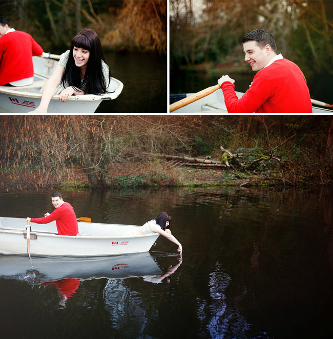 row boat couple in love