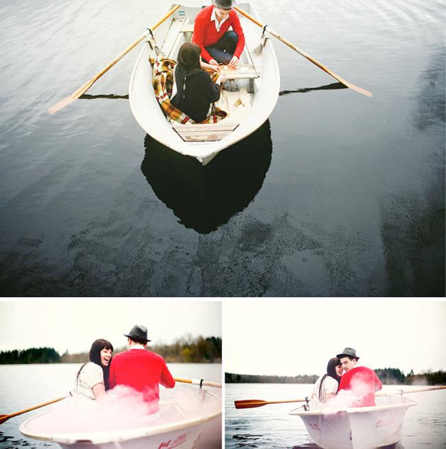 couple with smoke on row boat