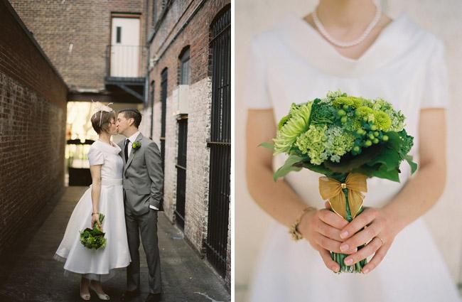 green wedding bouquet mums