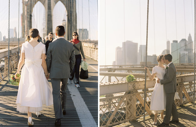 wedding couple brooklyn bridge