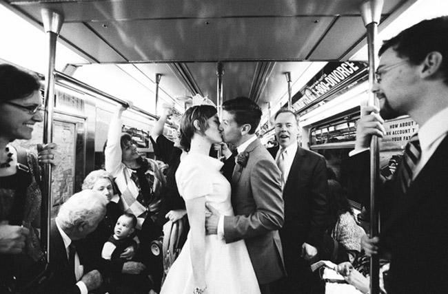 wedding bride and groom on subway