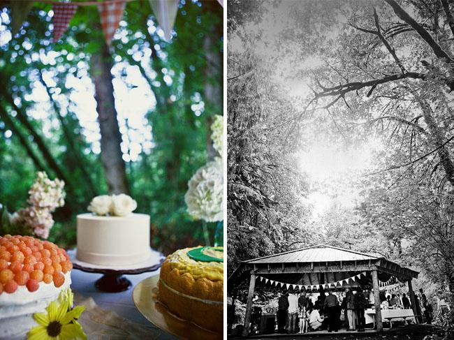 park pavillon wedding table of cakes