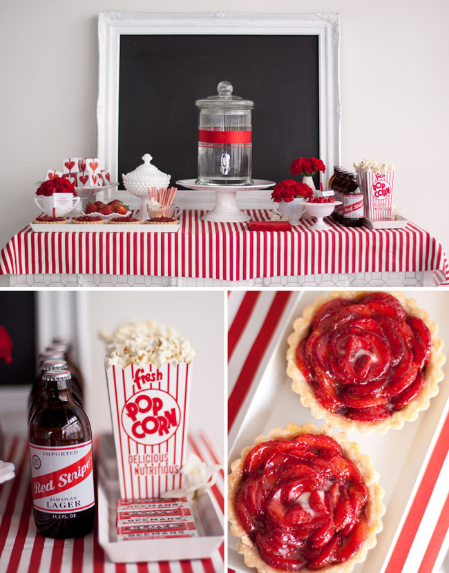 red white table display