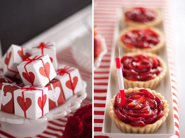 heart boxes with strawberry tarts table
