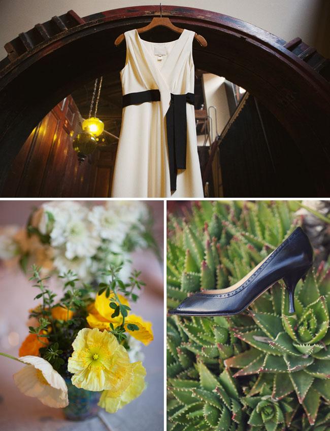 wedding dress with black sash