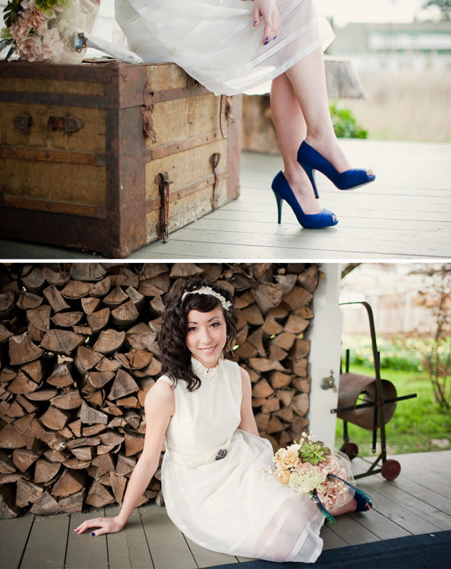 blue shoes wedding dress