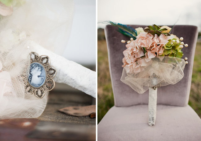 bouquet and vintage pin