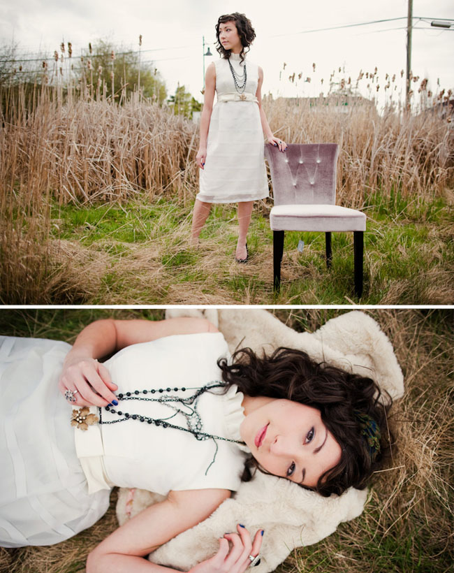 wedding dress in field with chair