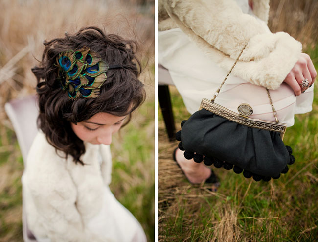 feather headband and vintage purse