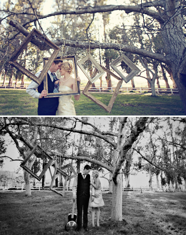 vintage frames engagement photos